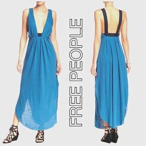 Free People Heidi linen blend maxi dress- XS -blue